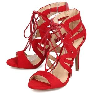 Wild diva suede lace up heels red